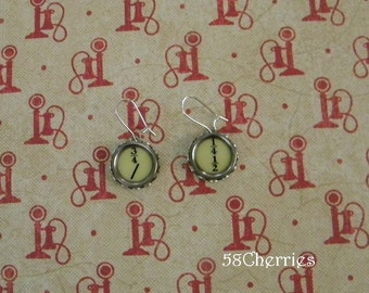 Fractions - Antique Typewriter Key Earrings - Steampunk Upcycled Jewelry - Great Gift for Teacher - School