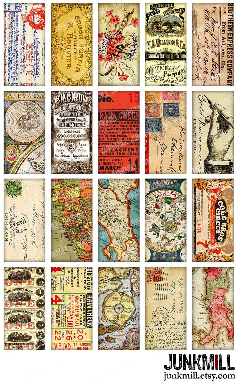 Paper bits digital printable collage sheet vintage for Vintage book paper