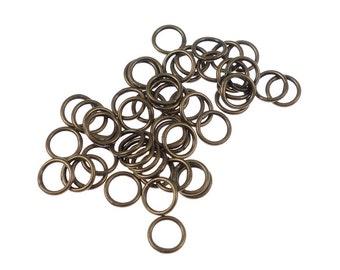 50 Closed Jumprings 6mm 20 Gauge Antique Brass Jump Rings Soldered Shut 20 G Brass Oxide Findings Solid Brass (FSAB112)