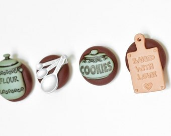Pastry Chef Magnets Gift Set of 4. Kitchen Cookies, Flour Jar, Measuring Spoons, Cookie Sheet in Brown Polymer Clay for Home or Office Deco