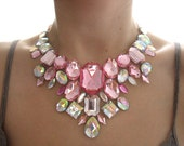 On Sale Pastel Pink Rhinestone Statement Necklace, Light Pink Rhinestone Bib Necklace, Discount Light Pink Bib Necklace