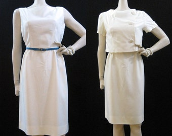 Vintage 50s 60s Dress White Rayon Dress Suit Wiggle Sheath Bolero  M
