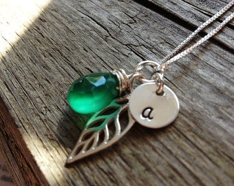 Leaf Necklace - Charm Necklace - Initial Necklace - Personalized Jewelry - Gemstone Initial Necklace -