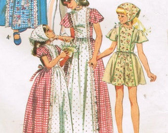 1970s Simplicity 6242 Vintage Sewing Pattern Girl's Mini Dress, Maxi Dress, Prairie Dress, Boho Dress Size 6
