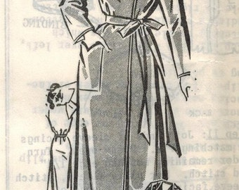 1950s Mail Order 8328 Vintage Sewing Pattern Misses' Robe Housecoat Siize 20 Bust 38