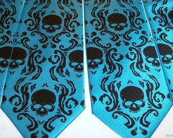 4 Mens Skull Damask neckties print to order in colors of your choice