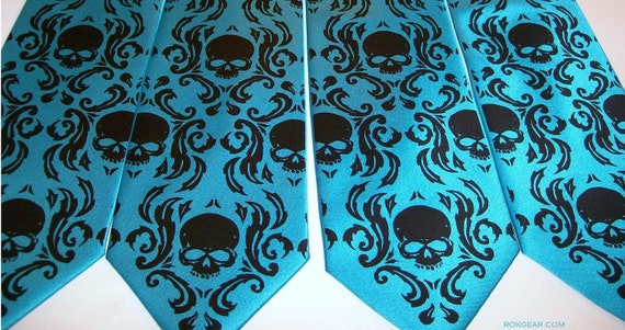 Four mens microfiber damask skull ties. colors of your choice - print to order