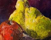 PEARS & APPLE Original Oil Painting Palette Knife Art Artwork Still Life