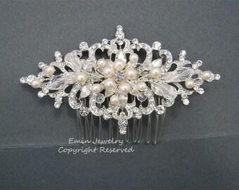 Wedding Hair Accessories, Vintage Bridal Hair Combs, Pearl Rhinestone Crystal Wedding Hair Pieces Fascinator ,pettinino,Haarkamm