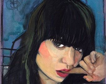 Small Gouache Portrait Painting Original Wall Art Framed Lowbrow Art, Nico - shockeyrotica
