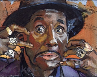 Screamin' Jay Hawkins Original Painting Gouache Portrait Lowbrow Framed Wall Art, Portrait of a Man - shockeyrotica