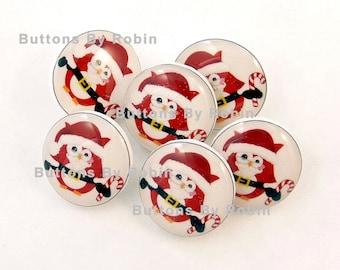 Santa Claus Owl Christmas buttons.  6 SMALL Christmas Owl Handmade SHANK Buttons.
