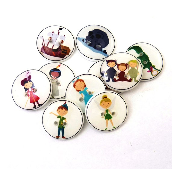 "Peter Pan Handmade Buttons.  10 different Peter Pan themed buttons. 3/4"" or 20 mm."