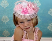 Pink/White Girl's Top Hat Fascinator - Over the Top Flower Headband - Vintage-Style Baby/Toddler Rosette Flower Headband - Pageant