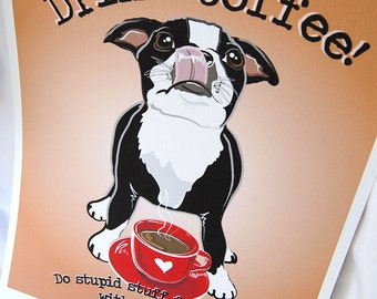 Coffee Boston Terrier - 8x10 Eco-friendly Print