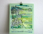 CLIFFHANGER | beach city art | line drawing on bright sea greens and yellows | screenprint by Kathryn DiLego