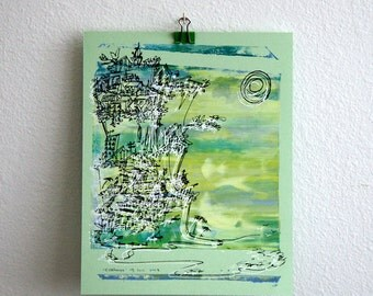 CLIFFHANGER   beach city art   line drawing on bright sea greens and yellows   screenprint by Kathryn DiLego