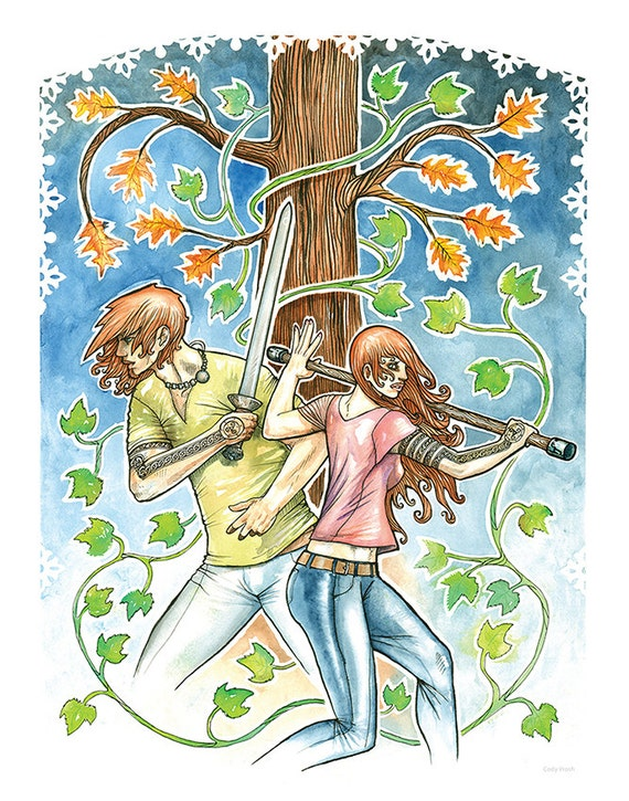 Atticus and Granuaile from The Iron Druid Chronicles - Fantasy Book Art Print, Celtic Mythology - 11x14 Watercolor Art Print by Cody Vrosh