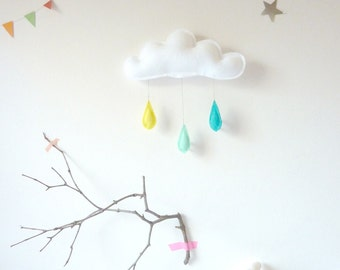 Cloud mobile.... Rain of colors....TURQUOISE-MINT-YELLOW...drops by The Butter Flying-Rain Cloud Mobile Nursery Children Decor