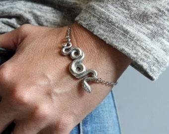 Silver Garden Snake Bracelet in Solid White Bronze with Sterling Overlay Snake Serpent Bracelet 258