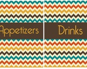 Vintage Chevron Orange Recipe Dividers