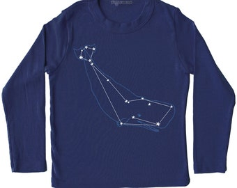 Whale Cetus Shirt - animal star constellation print, metallic silver foil screenprint, navy blue long sleeve t-shirt