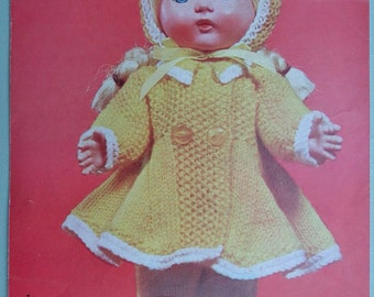 Vintage 1950s 1960s Knitting Pattern Dolls Clothes - 10 and 12 inch dolls - 50s 60s original pattern - doll's outfit - Bestway No. 3797 UK