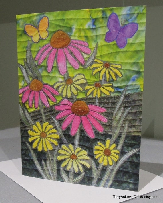 Art Quilt Note Card - Butterfly Garden