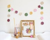 Lillian : crochet flower garland, granny chic decor in autumn colours of damson, pink, yellow & green - ready to ship