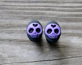 Plugs - Sugar Skulls - Size 0 - Gauged Plugs - Purple - Black - Acrylic - Stocking Stuffer - Gifts Under 25