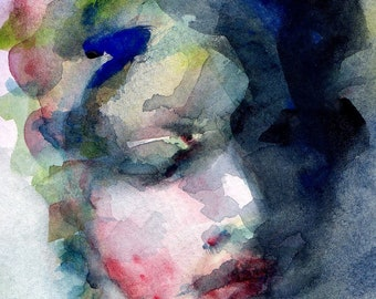 """Giclee Print  """"Blue Mae"""" - 8x10 Print of a  Watercolor Painting, Womans Face in Blues and Reds"""