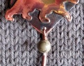 Shawl Pin Copper Bear with Cherry Creek Jasper bead