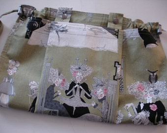KNITTING BAG Apron - Ready to ship - Alexander Henry 2010 A Ghastlie Night Knitters in Sage