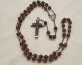 Vintage Wood and Metal ROMA Cross Beaded Rosary