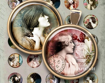 1 inch (25mm) and 1.5 inch round images VINTAGE OBSESSION Digital Collage Sheet Printable download for pendants, round bezels, magnets