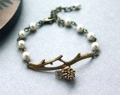 A Golden Pinecone Branch Twig Oxidized Brass Bracelet. Nature Inspired Bracelet. For Wife. For Sister. Wedding Bracelet. Bridesmaid Gift.