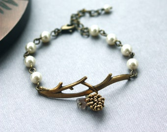A Golden Pinecone Branch Twig Oxidized Brass Bracelet. Nature Inspired Bracelet. For Wife. For Sister. Wedding Bracelet. Bridesmaid Gift.