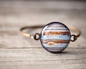 Jupiter thin cuff bracelet - Science jewelry - Galaxy jewelry - Science gift - Space gift, Astronomy bracelet, Solar System bracelet (BT018)