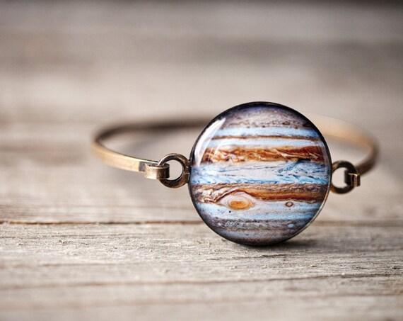 Cadeau de Jupiter fine manchette bracelet - cadeau de Science de bijoux - bijoux de galaxie - Science - espace, astronomie bracelet, bracelet de système solaire (BT018)