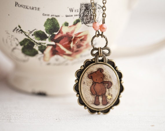 Teddy Bear necklace - Cute jewelry - Brown necklace - Vintage style necklace - Brown necklace - Teddy bear jewelry (N069)