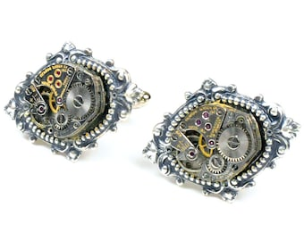 Vintage Benrus Watch Movement Steampunk Cuff Links