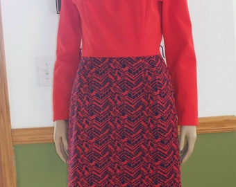 Womens Dress  Red & Blue textured Dress -Womens Vintage  70s  Kenny Classics  Long Sleeves- Dress