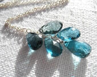 London blue topaz necklace - blue necklace - silver necklace - V I D A 059