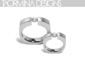 Modern Ring in Stainless Steel with White Sapphire Unisex Style