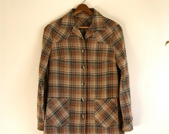 Plaid Womens Fitted Jacket // Vintage