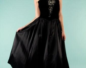 Vintage Formal Dress Black Gunne Sax Satin Strapless Velvet Beaded Sequin Corset 80s