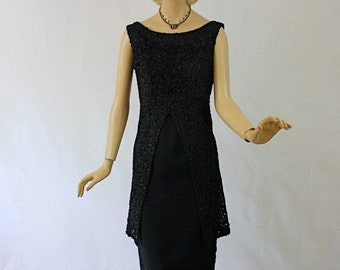 Vintage 60s Party Dress Sylvia Ann Sexy Black Ribbon Soutache Lace Cocktail Formal Dress
