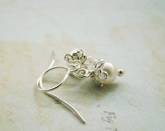 Winter white petite swarovski crystal pearls dainty sterling silver earrings, wedding,bridemaid gift, teenage girls, for daughters,