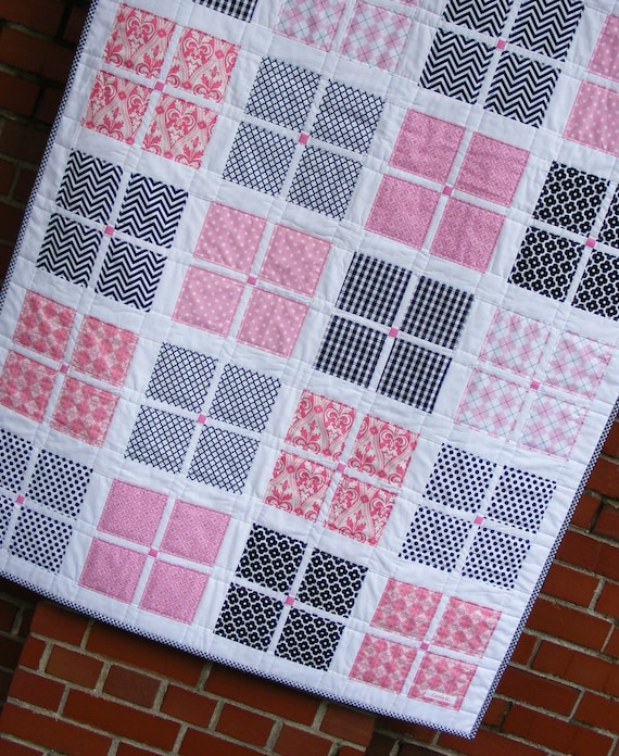 Baby Gift Quilt : Items similar to modern quilt and burp cloth gift set