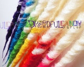RESERVED: Apocalyptix's 14 ct. White Rainbow Sampler, SE Synthetic Dreads by Dreadful Candy Parlor
